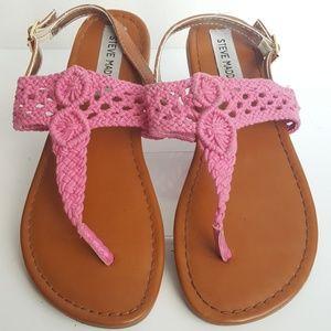Steve Madden Girls Pink Crochet Sandals Size 4